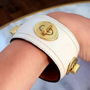 COACH Wide Ivory Gold Turnlock Leather Bracelet